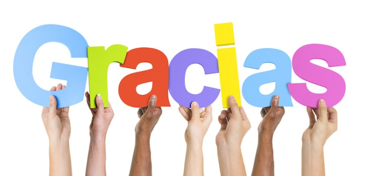 Multiethnic Group of Hands Holding Gracias